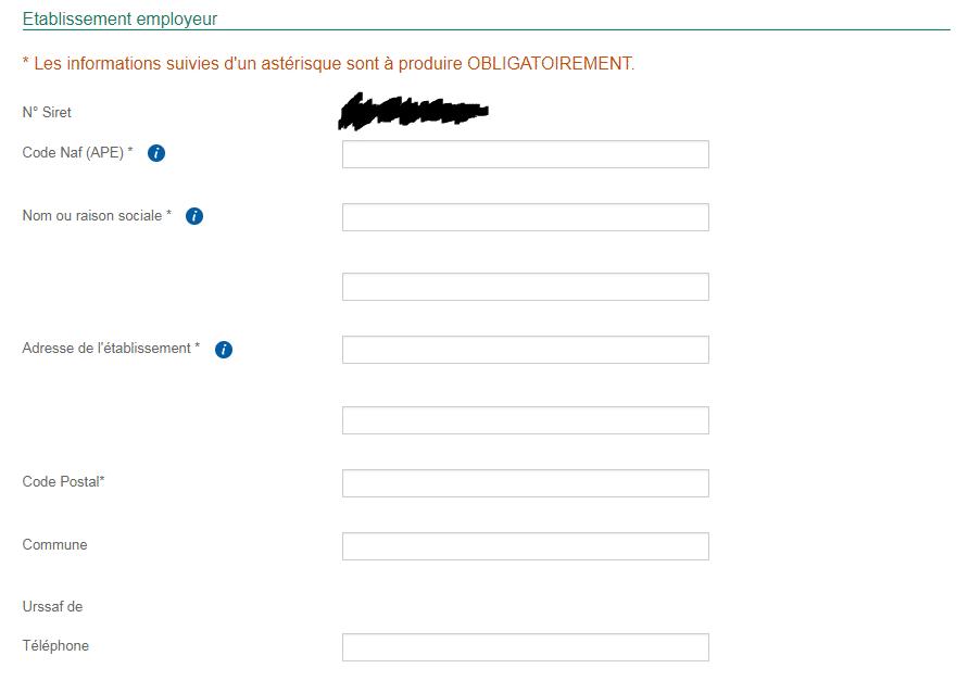 Informations employeur pour faire une déclaration préalable à l'embauche sur le site de l'URSSAF